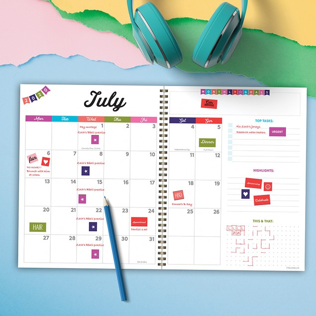 July 2020 - June 2021 Colorful Large Daily Weekly Monthly Planners