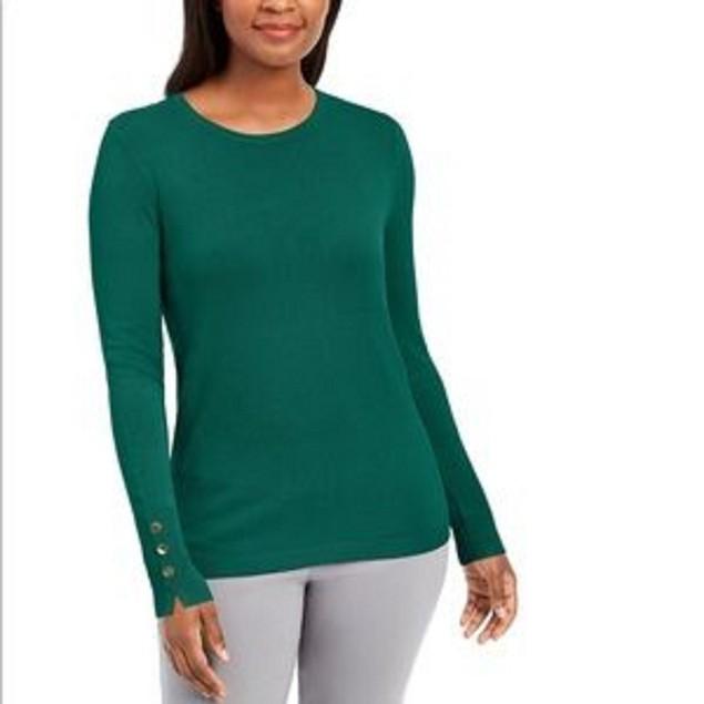 Jm Collection Women's Button-Cuff Crewneck Sweater Green Size Medium