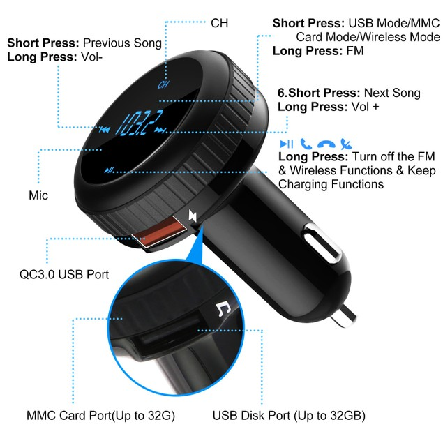 Quick Charge 3.0 Car Charger Wireless 4.2 FM Transmitter