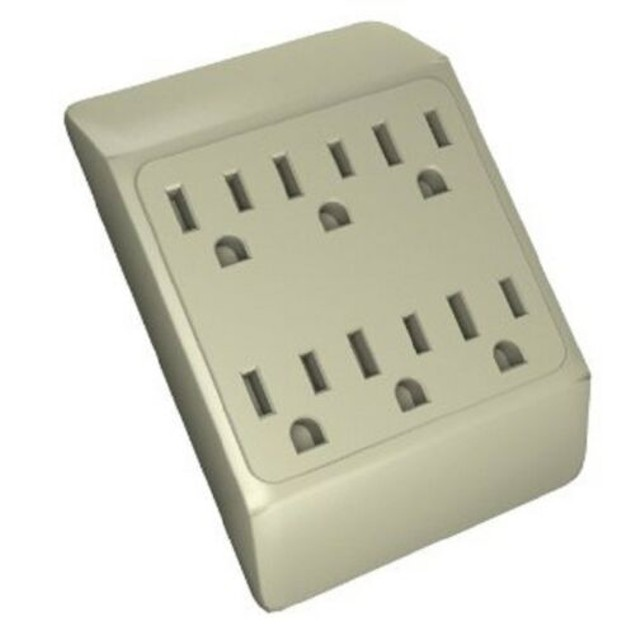 6 Way Plug Wall Outlet Power Strip Socket Grounded Beige Tan Splitter