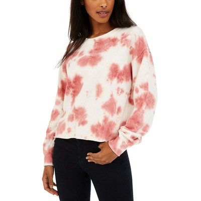 Hippie Rose Juniors' Tie-Dye Cropped Sweatshirt Red Size X-Large