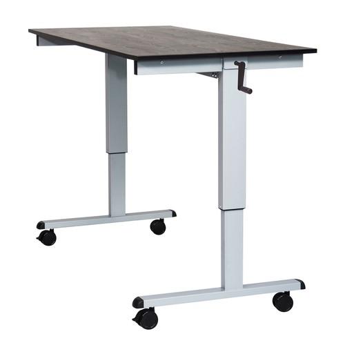 "60"" High Speed Crank Adjustable Desk - Silver/Black"