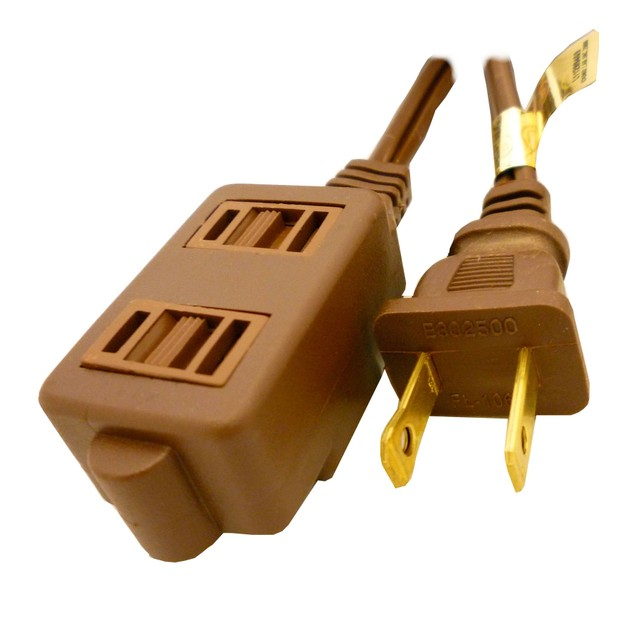Standard Household Extension Cord - Three Outlet Brown - 15 Feet