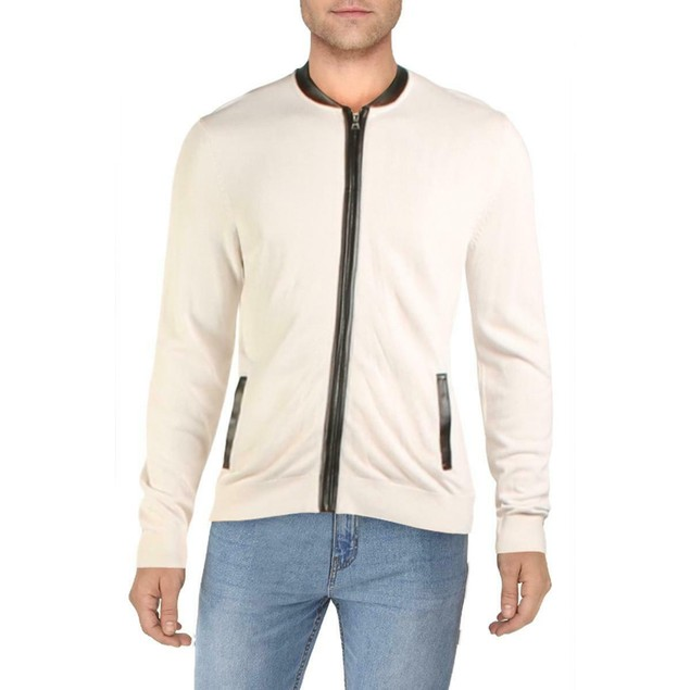 INC International Concepts Zip-Front Cardigan Snowfall White  Extra Large