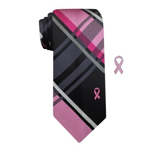 Susan G Komen Men's Plaid With Herringbone Stripe Tie Black Size Regular
