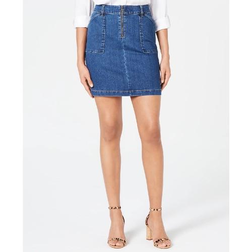 INC International Concepts Women's Curvy-Fit Denim Skirt Blue Size 10