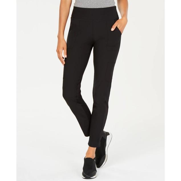 Ideology Women's Knit Back Woven Pants Black Size Medium