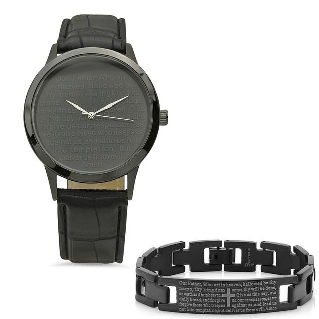 Bracelet & Watch Set W/ Stainless Steel Our Father Prayer Ion Bracelet