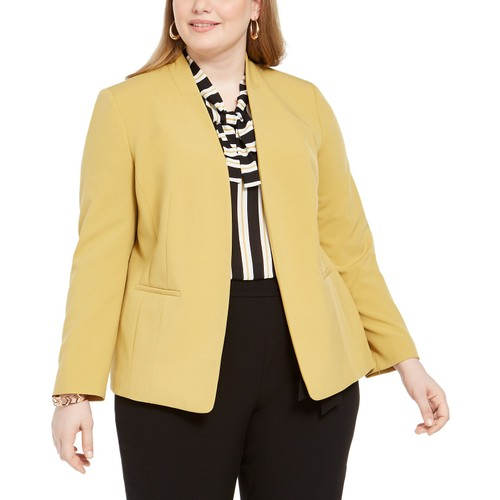 Bar III Women's Trendy Plus Size Open-Front Blazer  Brown Size Extra Large