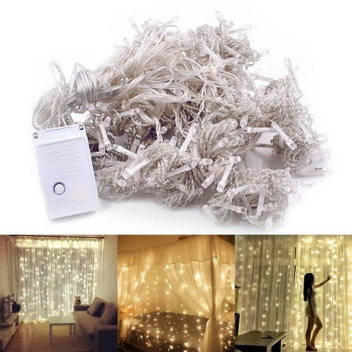 3M 300-LED Warm Romantic Outdoor Decorative Curtain String Light