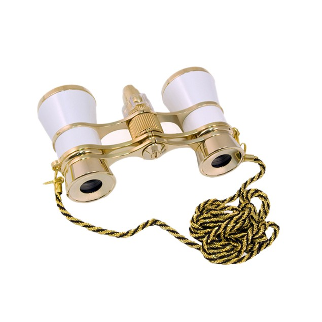 Levenhuk Broadway 325F Opera Glasses with LED Light And Chain - White