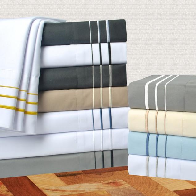 3-Line Embroidery 6-Piece Sheet Set, Wrinkle Free, GIFT BOX