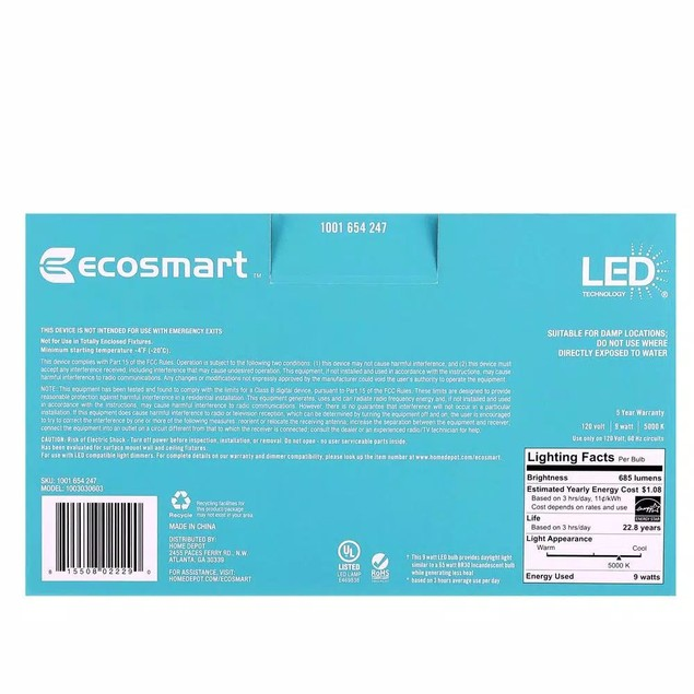Ecosmart 65W Equivalent BR30 Energy Star LED Light Bulb Daylight, 6 Pack