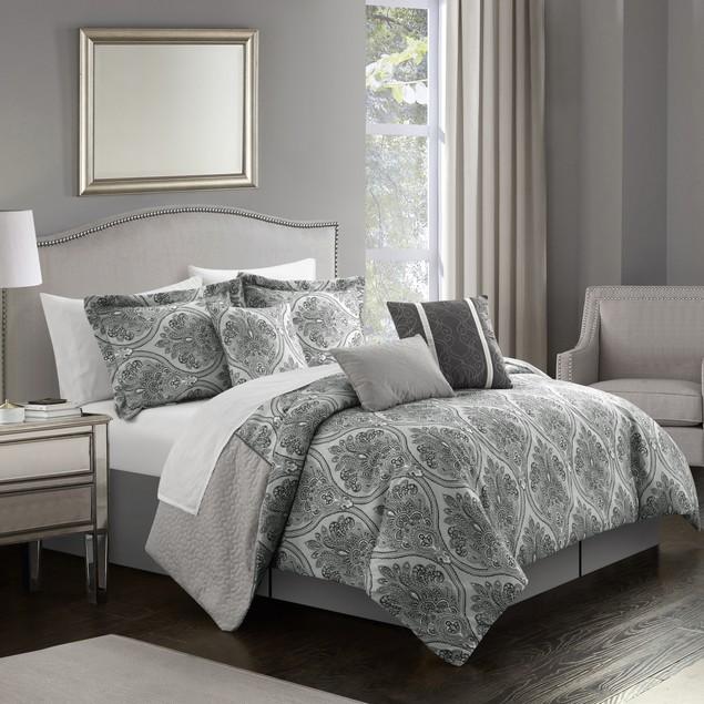 Eurythmics 7 Piece Comforter Set Reversible Two-Tone Damask Pattern Bedding
