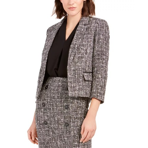 Bar III Women's Tweed Open-Front Jacket Black Size 14