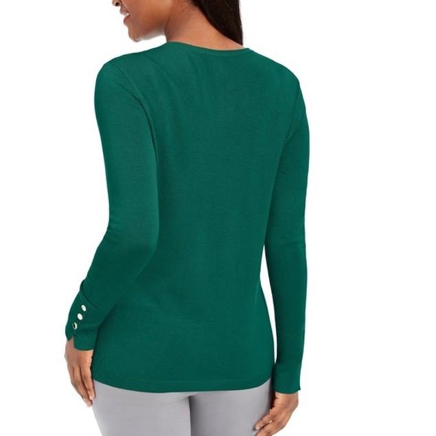 JM Collection Women's Button-Cuff Crewneck Sweater Dark Green Size Large