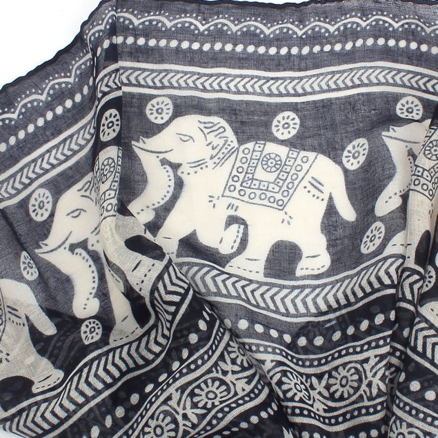 Women's Long Pashmina Elephant Scarf