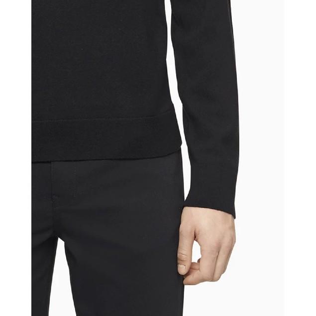 Calvin Klein Men's Merino Crew Neck Logo Sweater Black Size 2 Extra Large