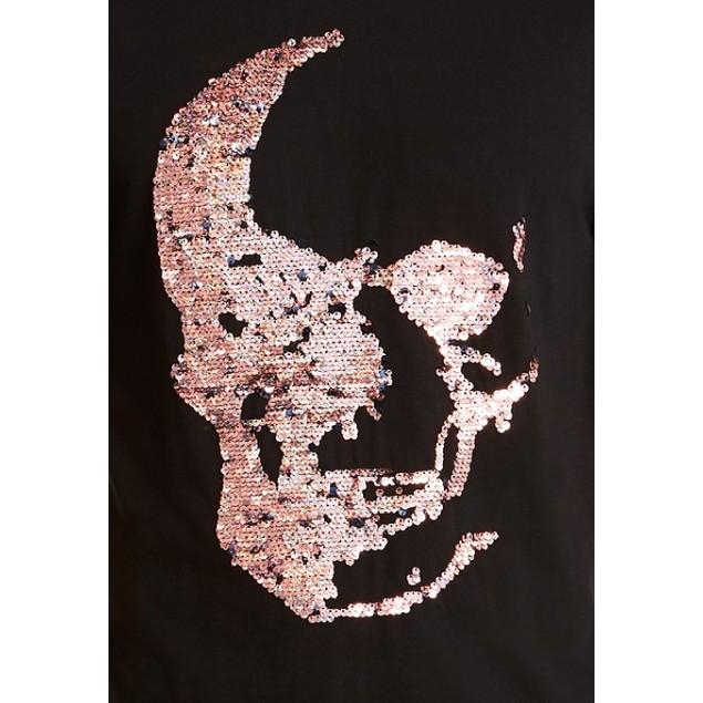 INC International Concepts Renew Sequin Skull T-Shirt Deep Black Large