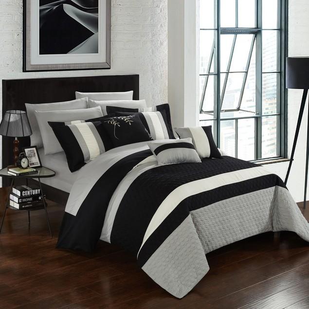 Chic Home 10 Piece Donatello Bedroom Set Color Block pattern Comforter Set