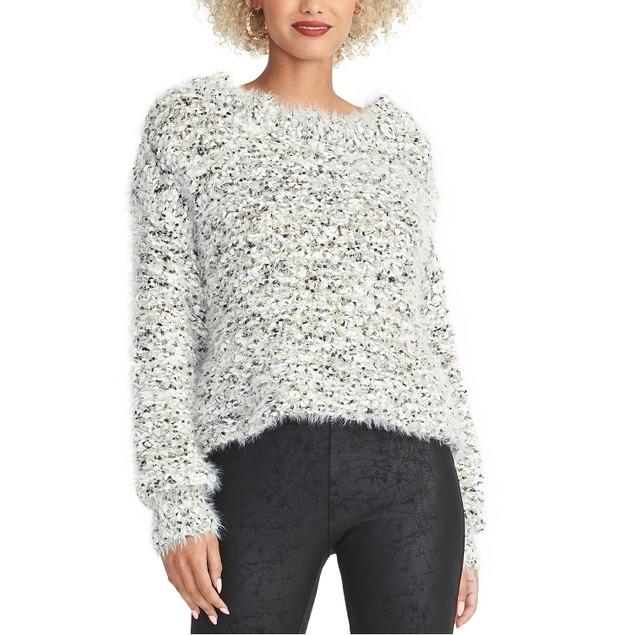 Rachel Roy Women's Super Fuzzy Cropped Sweater White Size Large