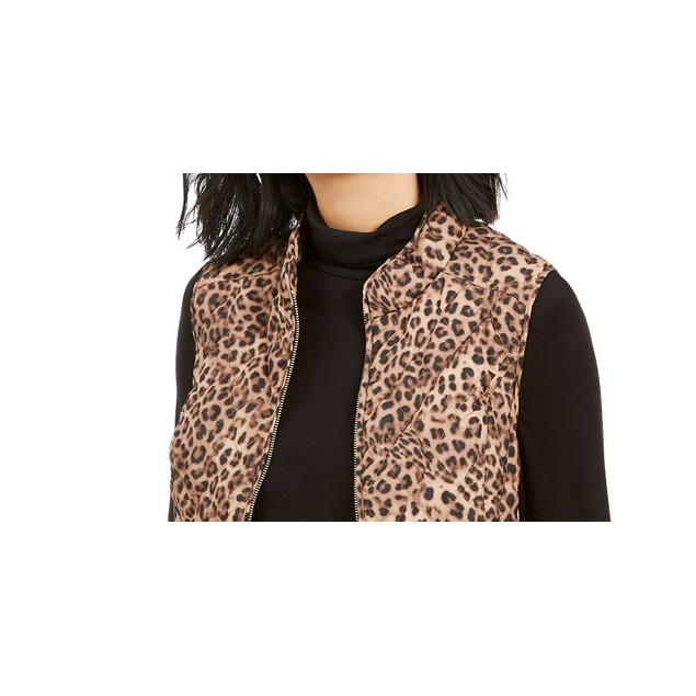 Charter Club Women's Animal-Print Quilted Vest Beige Size Small