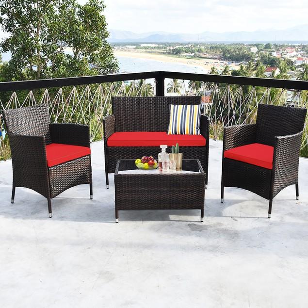 Costway 4PCS Rattan Patio Furniture Set Cushioned Sofa Chair Coffee Table R