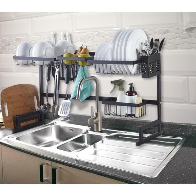 Over the Sink Adjustable Dish Rack Drainer W Utensils Hook Cutlery Holder