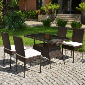 Costway 5 PCS Patio Rattan Dining Set Glass Table High Back Chair Garden De