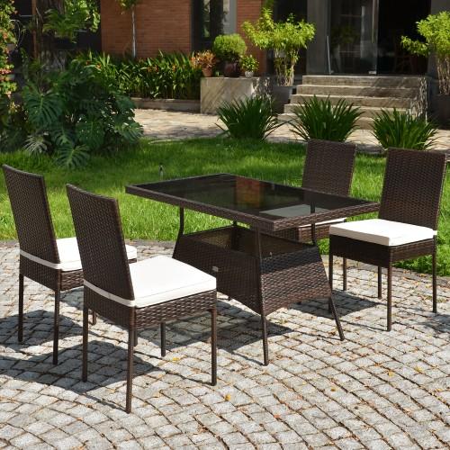 Costway 5 PCS Patio Rattan Dining Set Glass Table High Back Chair Garden De