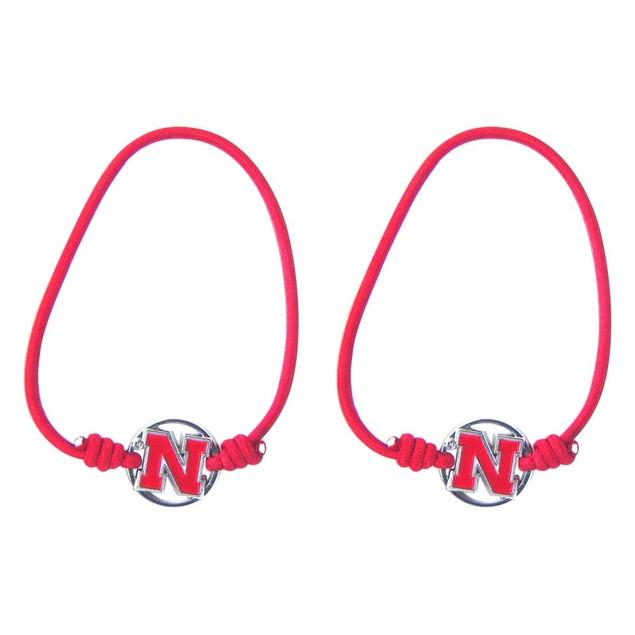 Nebraska Corn Huskers Stretch Bracelets Set of (2) Hair Ties - NCAA