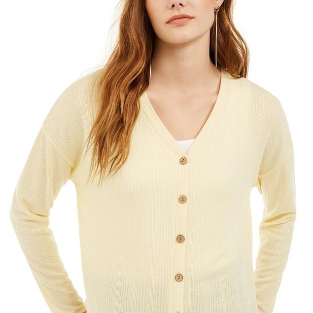Pink Rose Juniors' Textured Button-Front Top Yellow Size Medium