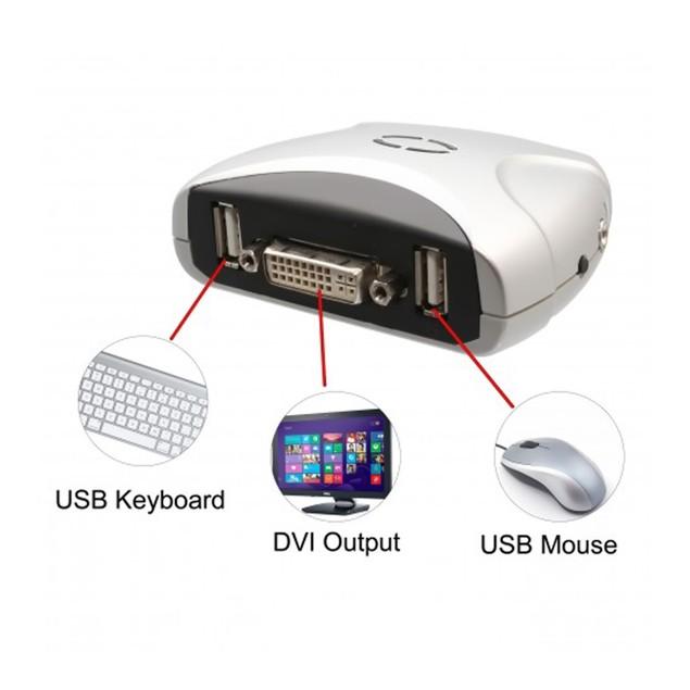 2 Port DVI KVM Switch USB 2.0 And Audio Support