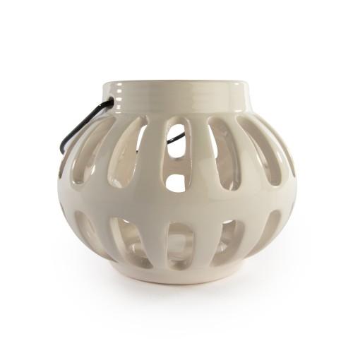 White Ceramic Lantern Tealight Holder Open Design   8.5cm