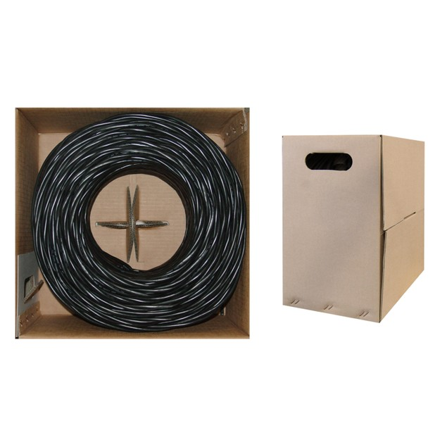 Bulk Cat5e Black Ethernet Cable, Solid, UTP Pullbox