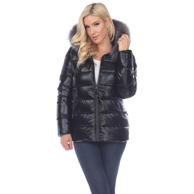 Metallic Puffer Coat with Hoodie - 3 Colors - Extended Sizes