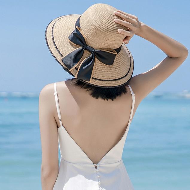 Ladies Striped Seaside Beach Straw Hat