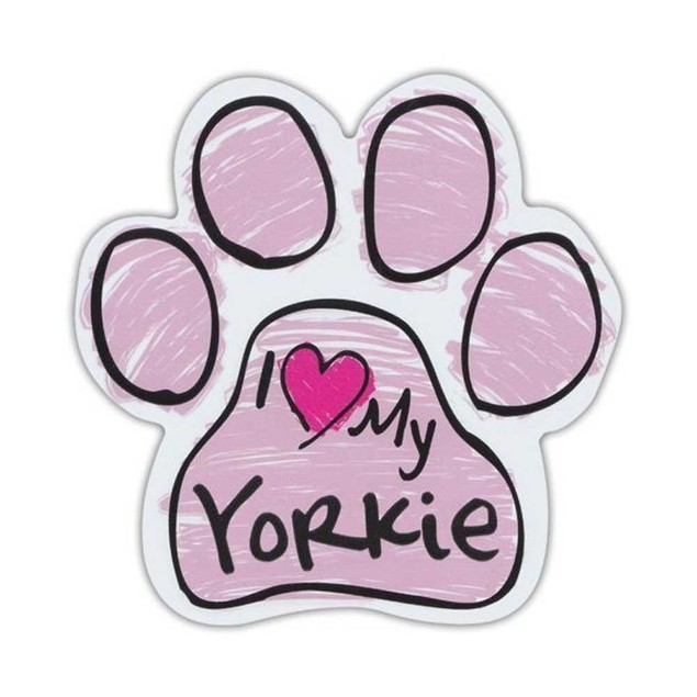 Pink I Love My Yorkie Scribble Paw Magnet