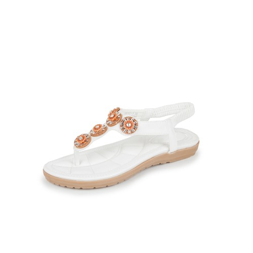 Haute Edition Women's T-Strap Thong Bead and Pearl Comfort Sandals