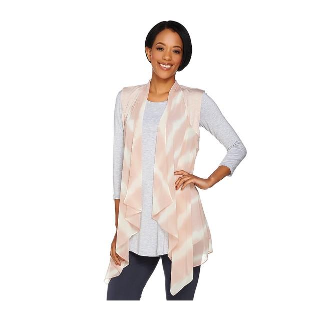 LOGO by Lori Goldstein Tie-Dye Printed Chiffon Open Front Vest, Large,
