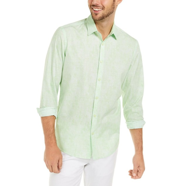 Alfani Men's Classic-fit Abstract Plaid Shirt Lime Oxide Size Small
