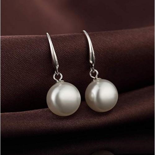 Silver Pearl Drop Hook Earrings