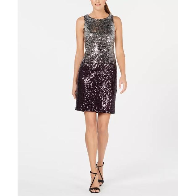 Calvin Klein Women's Ombre Sequin Sheath Dress Gray Size 2