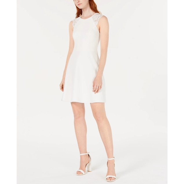 19 Cooper Women's Lace-Trim Open-Back A-Line Dress White Size Small