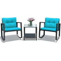 Costway 3PCS Patio Rattan Furniture Set Rocking Chairs Cushioned Sofa