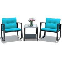 Costway 3PCS Patio Rattan Furniture Set Rocking Chairs Cushioned Sofa