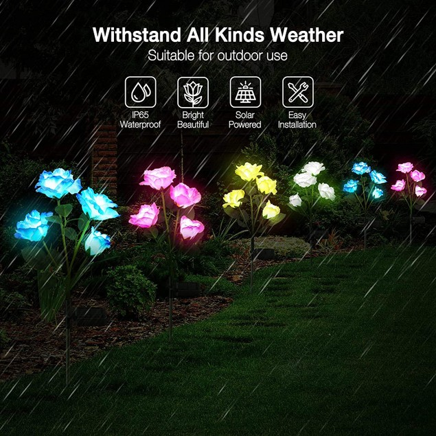 Solar Rose Flower Lights Outdoor Waterproof Stake Decor Lights Patio Lawn (4-Pack available)