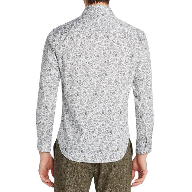 Tallia Men's Performance Stretch Ornate Floral Shirt White Size 2XL
