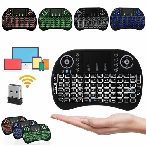 Mini 3 Colors Backlit i8 2.4GHz Wireless Keyboard Touchpad for TV Box