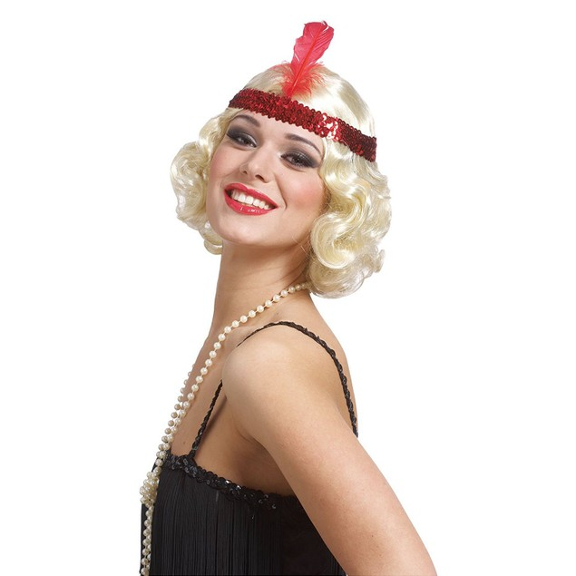 Blonde Curly Flapper Wig With Feather Headband